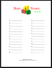 baby names A to Z free printable game